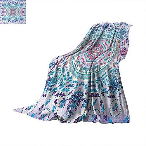 Mandala Super Soft Lightweight Blanket Medallion Design Floral Patterns and Leaves Boho Hippie Style Prints Summer Quilt Comforter 60