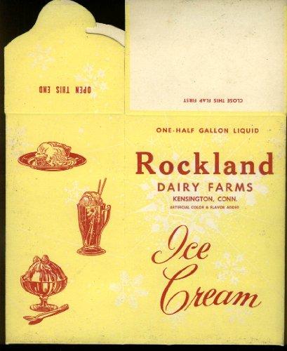 Rockland Dairy Farms Half Gallon Ice Cream container Kensington CT 1950s -