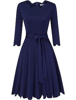 KOJOOIN Vestido de cóctel Vintage para Mujer, con Volantes, Cuello ...