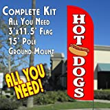 HOT DOGS Windless Feather Banner Flag Kit (Flag, Pole, & Ground Mt)