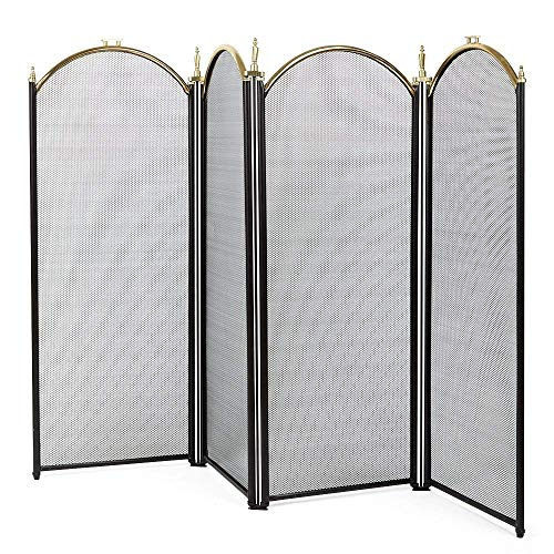 Large Gold Fireplace Screen 4 Panel Ornate Wrought Iron Black Metal Fire Place Standing Gate Decorative Mesh Solid Baby Safe Proof Fence Steel Spark Guard Cover Outdoor Fireplace Tools Accessories (Fireplace Glass Cover Mesh)