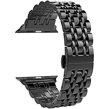 Apple Watch Band, Aokay Stainless Steel Metal Replacement Band with Butterfly Clasp for Series 3 Series 2 Series 1 Sport and Edition 38mm, Black