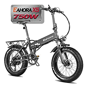 Eahora X5 750W High Power Version 20″ Fat Tires Folding Electric Bike 48V 10.4Ah Battery Ebike for Adults & RV Power Recharge System 7 Speed with Fenders & Rack for Snow Beach Mountain