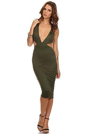 271097438b3e Amazon.com  Olive - Green Stretch Low Cut Bodycon Dress w  Cut Out ...