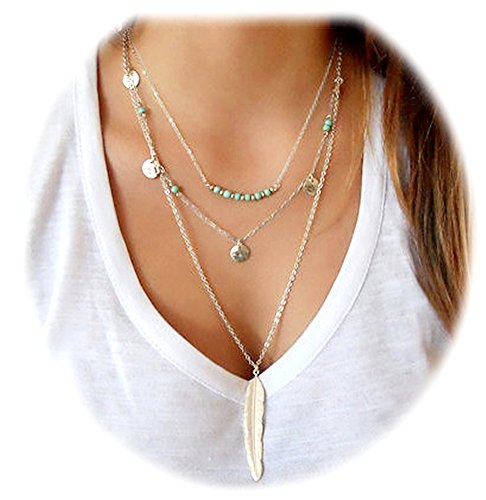 suyi-exquisite-sequins-multilayer-chain-turquoise-beads-necklace-with-feather-pendent-silver