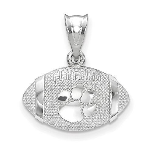 LogoArt Sterling Silver Clemson University Paw Print Primary 3D Football with Logo Pendant by LogoArt