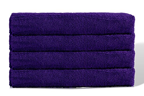 Puffy Cotton Large Bath Towel - 4 Pack Set - Oversize Bath Sheet (Hotel, Spa, Bath) Super Soft and Observant (Purple) by Puffy Cotton (Image #4)