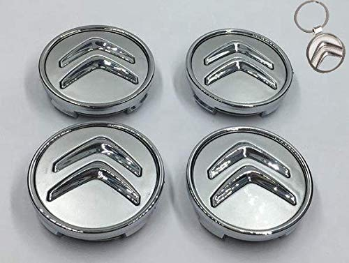 4X Citroen Tapacubos, 60 mm,1 Llavero de Regalo Incluido Tapas centrales para Llantas Rueda Central C2, C4, C5, C6, de Color Negro con el Logo Gris: ...