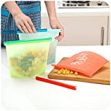 ziplock 1 2 cup containers - Reusable Silicone Vacuum Food Fresh Bags Wraps Fridge Food Storage Containers Refrigerator Bag Kitchen Colored Ziplock Bags Red