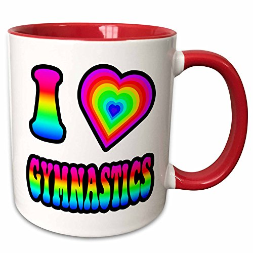 Gymnastics Mug (3dRose 217438_5 Groovy Hippie Rainbow I Heart Love Gymnastics Two Tone Mug, 11 oz, Red)