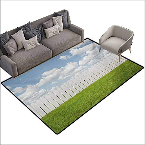Oversized Floor Rug Nature Exquisite Sykline with Clouds Over a Meadow Serenity Tranquil Place Relax Print Personality W70 xL106 Green White