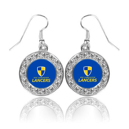 Primary Logo Earrings (USC Lancaster Crystal Studded Round Pendant Silver Dangle Earrings 'Primary Logo')