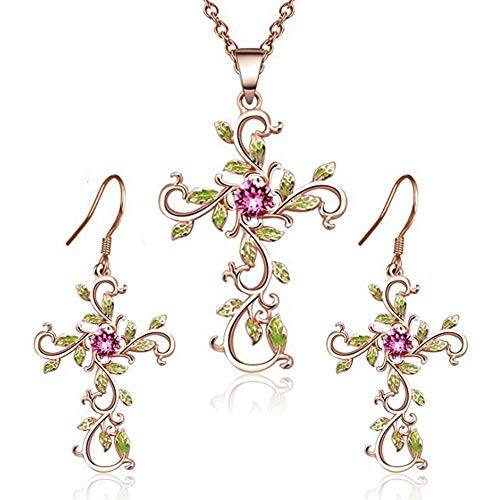 Natural Flower Plant Cross Pendant Chain Necklace Dangle Drop Hook Earring Set God We Trust Charm Flower Pink Crystal Green Enamel Cross Necklace Jewelry Suit Gift Women Girl (rose-gold-plated-alloy)