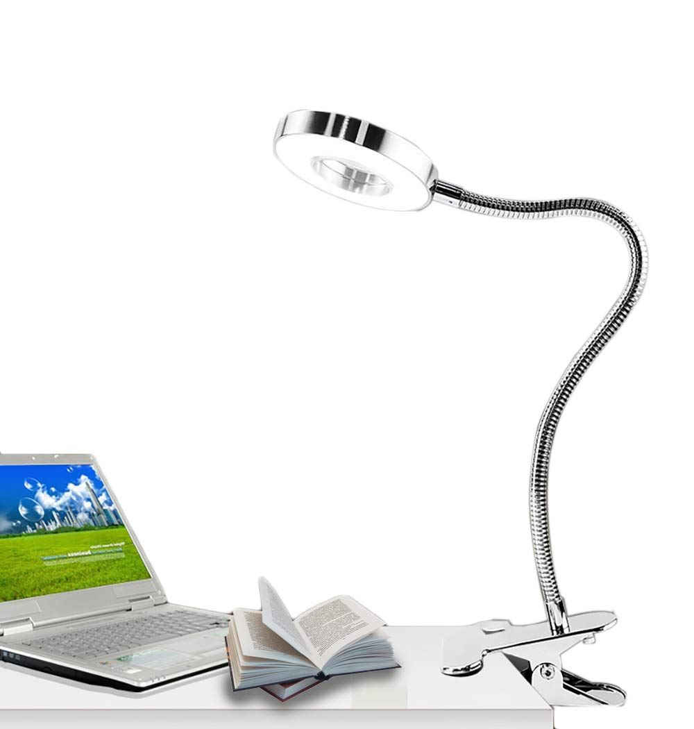 W-LITE 6W LED USB Dimmable Clip on Reading Light,Clip Laptop Lamp for Book,Piano,Bed Headboard,Desk,Eye-care 2 Light Color Switchable, Adapter Included(Silver)