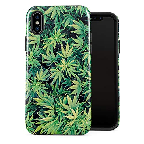 5280 Joint - Weed Stoned Marijuana 420 Leaves Pattern Double Layer Hard PC Armor & Shock Absorbing TPU Tough Cover Shell for iPhone X/XS Case