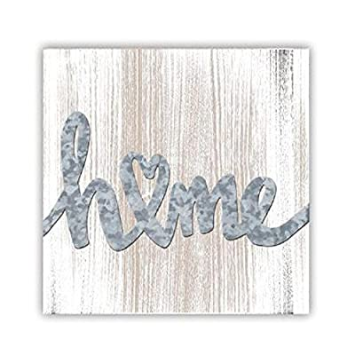"""ReLive Decorative Expressions Home 8"""" x 8"""" Painted Wooden Box Sign with Metal Accents"""