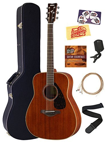 Yamaha FG850 Acoustic Guitar Bundle with Hard Case Tuner Strap Strings Austin Bazaar Instructional DVD Picks and Polishing Cloth - Natural Mahogany [並行輸入品]   B07FSDRH7L