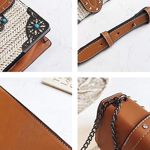 stile beige tracolla Meidi con vintage Bag borchie con Home qwxnSTC41