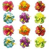 KEPATO Hibiscus Flowers Hair Clips Hawaiian Hair Accessories for Girls Women Beach Wedding Party Supplies (24)