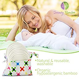 Washable Organic Bamboo Nursing Pads 8 pack (4 pair) with Laundry Bag - Natural and Reusable, Ultra Soft, and Super Absorbent for the Ultimate Luxury Breast Pad - By Serenity Bamboo