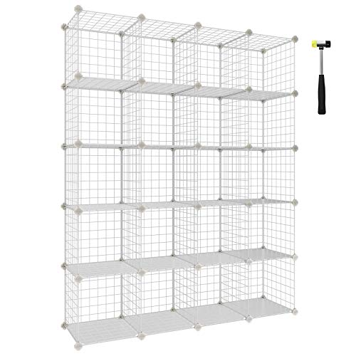 (SONGMICS Wire Cube Storage, 20-Cube Modular Rack, Storage Shelves, PP Plastic Shelf Liners Included, 48.4