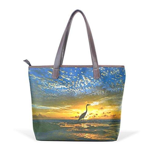 COOSUN Bolso asa grande bolsa de asas para mujer de la naturaleza del pájaro cuero de la PU M (40x29x9) cm muticolour