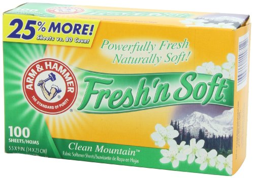 Arm & Hammer Fresh 'N Soft Fabric Softener Sheets, Clean Mountain, 100 Count