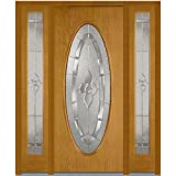 National Door Company Z013830R Fiberglass Oak, Fruitwood, Right Hand In-swing, Exterior Prehung Door, Master Nouveau Large Oval, 36''x80'' with 12'' Sidelites