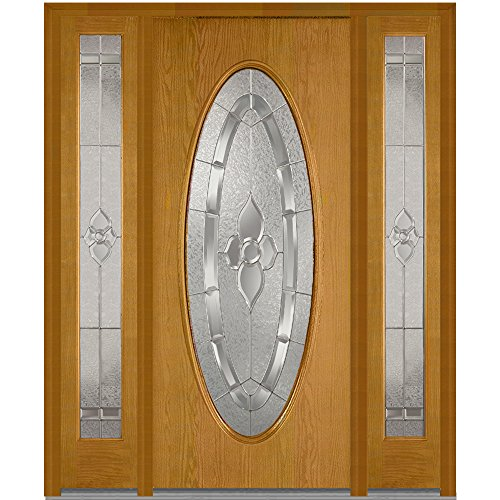 National Door Company Z013830R Fiberglass Oak, Fruitwood, Right Hand In-swing, Exterior Prehung Door, Master Nouveau Large Oval, 36''x80'' with 12'' Sidelites by National Door Company