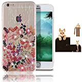 Apple iPhone 5 5S SE Crystal Clear Case,Vandot Luxury Ultra Thin Slim Fit Diamond Bling Shining Colorful Case Cover Soft TPU Silicone Transparent Cover Scratch-resistant Shockproof Skin Shell + Rhinestone Leopard Anti Dust Plug - Red Leaf Flower