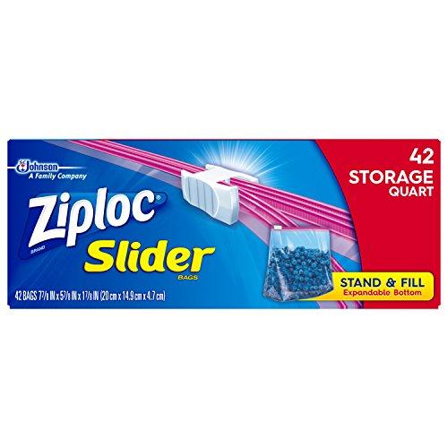ziploc slider quart freezer bags - 6