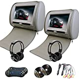 Eincar 2 pcs 9 inch LCD Dual Screen Headrest DVD video player USB/SD/DVD/CD/MP3/MP4 Support 32 bit Games FM transmitter IR function AV-in both support dvd play function+ free 2 IR headphones Included!(grey)
