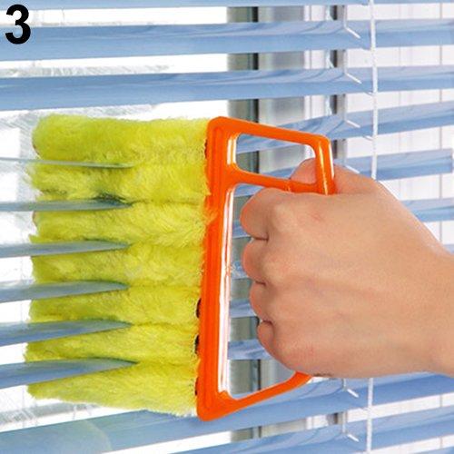 WillowswayW Microfibre Venetian Blind Cleaner Window Clean Brush Conditioner Duster Shutter - Orange 13.5cm x 16cm ()