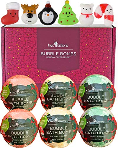 Christmas Squishy Bubble Bath Bombs for Kids with Surprise Squishy Toys Inside by Two Sisters. 6 Large 99% Natural Fizzies in Gift Box. Moisturizes Dry Skin. Releases Color, Scent, Bubbles (For Christmas Big Surprise)