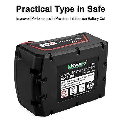 Biswaye 2 Pack 18V 5.0Ah Replacement Battery for Milwaukee 18V High Capacity Red Lithium Cordless Power Tools Battery M18 XC M18B 48-11-1820 48-11-1850 48-11-1828 by Biswaye (Image #4)
