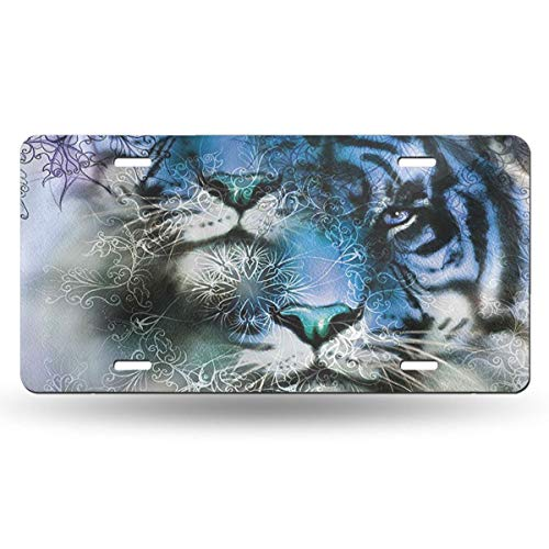 Jeepmother Two Tiger Safari Cat African 612inchs Feel Metal Tin Sign Plaque for Home,Bathroom and Bar Wall Decor Car Vehicle License Plate Souvenir Car Decoration ()