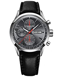 Raymond Weil Men's Freelancer 42mm Black Genuine Leather Band Steel Case Automatic Watch 7730-STC-60112