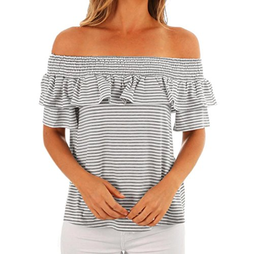 Clearance Sale! Wintialy Womens Casual Stripe Print Off Shoulder Tops Short Sleeve T-Shirt Blouse