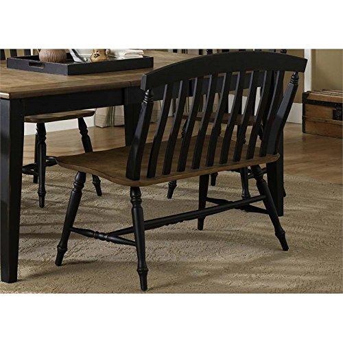 Bench Back Slat (Liberty Furniture Al Fresco II Slat Back Dining Bench in Black)