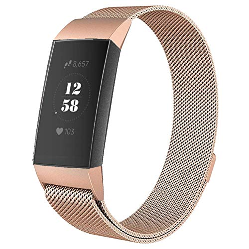 Deyo Milanese Bands Compatible for Fitbit Charge 3/Charge 3 SE Women Men Advanced Fitness Tracker Stainless Steel Metal Replacement Accessories Strap Wristbands Small Large (Rose Gold, Small)