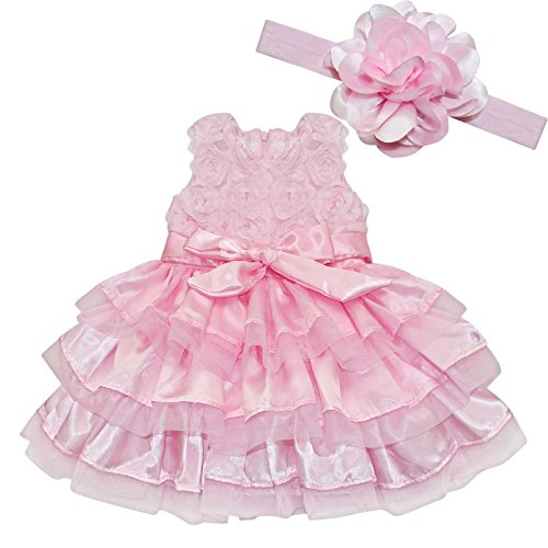 iEFiEL Baby Girls Rosette Tunic Princess Dress with Flower Headband Pink Pink 18-24 Months