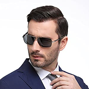 LADBOD New Classic Men's Aviator Driving Polarized Sunglasses Al-Mg Metal Frame Ultra Light (Grey)