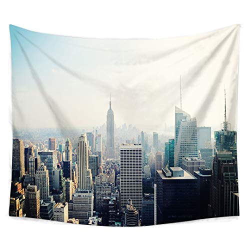 - New York Tapestry Wall Hanging by Roslynwood, New York City Midtown with Empire State Building at Sunset Business Center Vintage Photo, Bedroom Living Room Dorm Decor