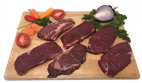 (Bison Steaks Combo Pack: 100% All-Natural, Grass-Fed and Grain Finished North American Buffalo Meat with no Growth Hormones or Antibiotics - USDA Tested - Count 6 of Tender, Flavorful Meat )