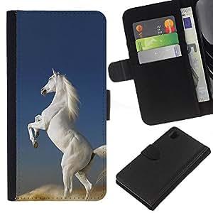 Planetar® Modelo colorido cuero carpeta tirón caso cubierta piel Holster Funda protección Para Sony Xperia Z1 L39 ( Pegasus Caballo Unicornio Blanco Cielo Nube )
