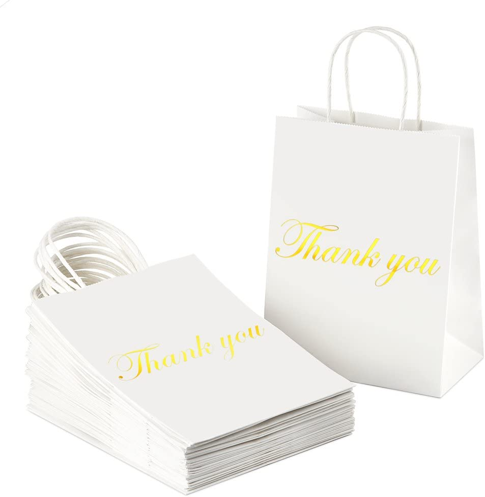 BagDream Kraft Paper Gift Bags with Handles 25Pcs Heavy Duty White Paper Bags, Shopping Bags, Shiny Gold Foil Thank You Gifts Bags, Wedding Party Bags, Retail Bags 8x4.25x10 Inches Medium Kraft Bags