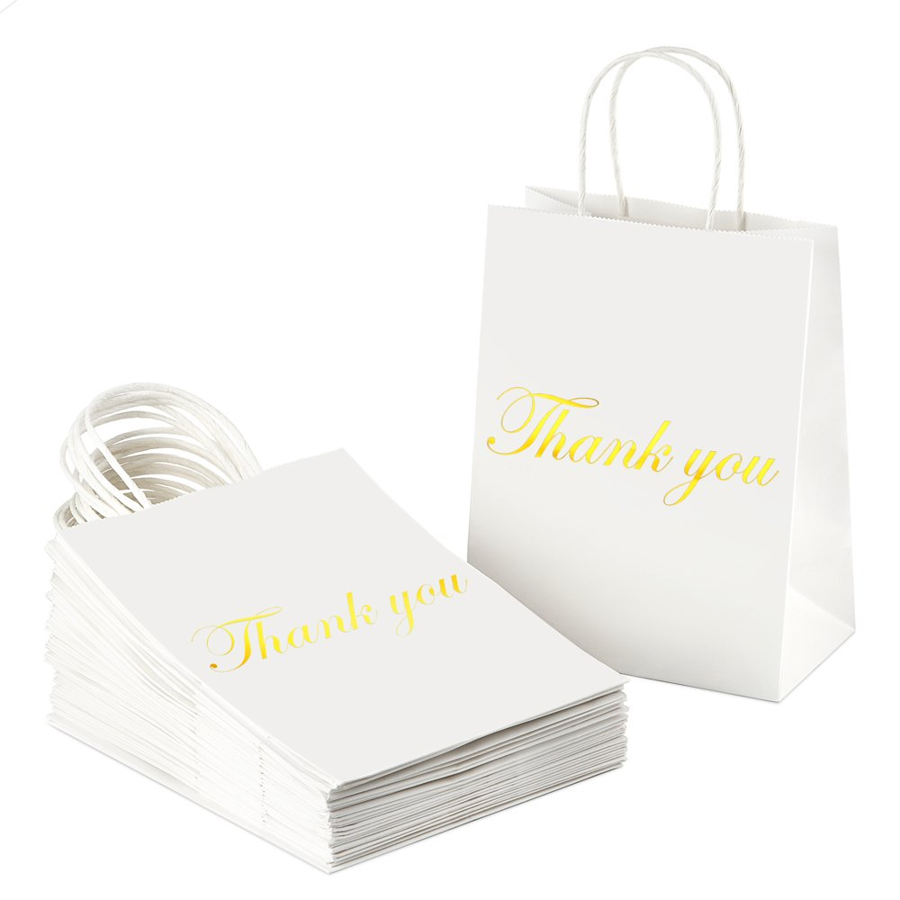 35f1680d19fc BagDream Kraft Paper Gift Bags with Handles 25Pcs Heavy Duty White Paper  Bags, Shopping Bags, Shiny Gold Foil Thank You Gifts Bags, Wedding Party ...