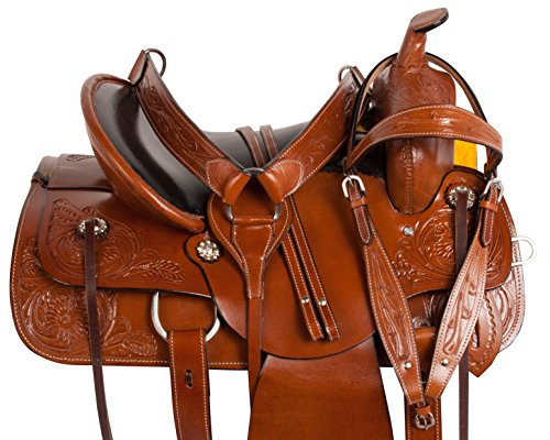 16 17 18 MULE TREE WESTERN LEATHER HAND CARVED TAN ENDURANCE PLEASURE TRAIL COMFY SEAT MULE BARS HORSE SADDLE TACK SET EXTRA WIDE (17) (Trail Mule Saddle)