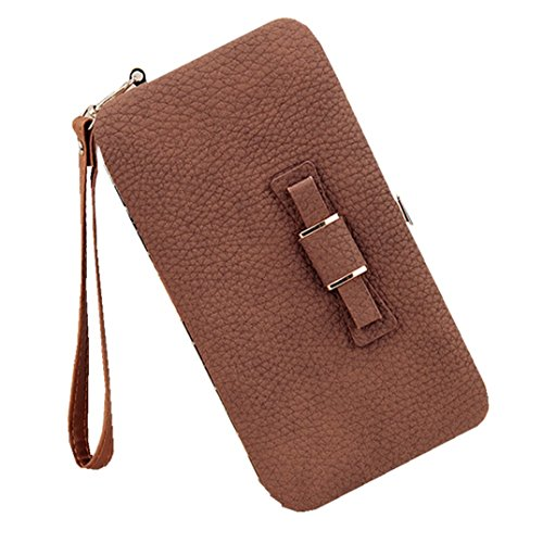 Litchi Prints Phone Wallet Case for Women Bow Leather Long Clutch Wallet Purse for 6 inch Cellphone Coin Card Pocket Wristlet Handbag (Brown) ()