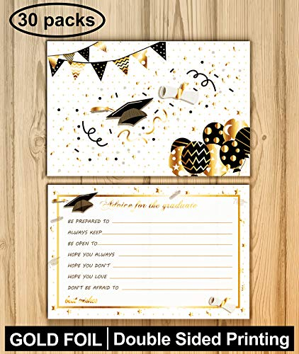 30 Pack Graduation Advice Cards Party Supplies 2019 - Graduation Party Decorations Games Ideas Cards for the Graduate with Gold Foil Favor
